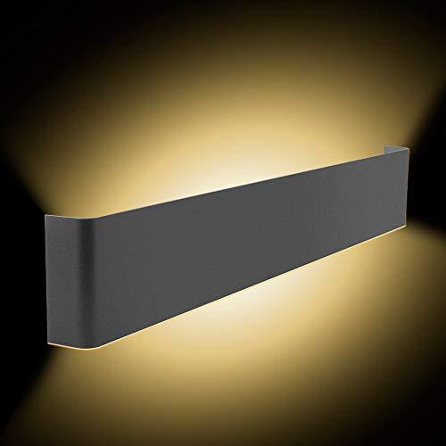 Lampada da Parete a 24W LED Bianco Caldo Nero Lampada da Parete Interna Bagno Camera da Letto Lampada Scala Corridoio Luce Notturna [livello di efficienza energetica A +]