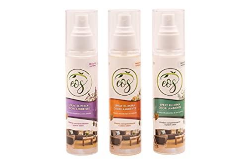 EOS Spray Naturale Elimina Odori Ambienti agli Oli Essenziali (Misto, 3)