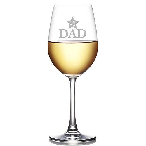 #1 Dad Engraved 18 oz Wine Glass