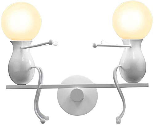MC Creativo lámparas de pared aplique de pared moderno decorativo metal lámpara de pared columpio lámparas de pared para bar, dormitorio, restaurante, negro E27 (blanco)