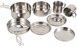 8pcs Outdoor Pan Set Stainless Steel Stacking Pots Hiking Pot Camping Cookware Non-stick Picnic Cooking Bowl Pot Kit