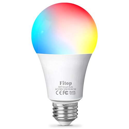 Fitop Bombilla Alexa LED Inteligente WiFi Regulable 10 W 900 LM Lámpara, E27 Multicolor Bombilla Compatible con Alexa, Echo e Google Home, A19 90W Equivalente RGBCW Color Cambio Bombilla, 1 Pcs