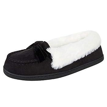 Jessica Simpson Womens Micro Suede Moccasin Indoor Outdoor Slipper Shoe,Black,Medium
