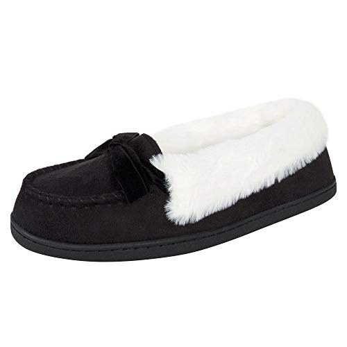 Jessica Simpson Womens Micro Suede Moccasin Indoor Outdoor Slipper Shoe,Black,Large