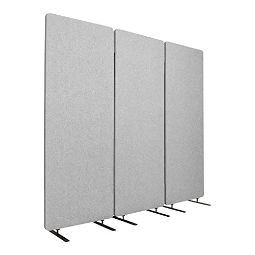 Stand Up Desk Store ReFocus Freestanding Noise Reducing Acoustic Room Wall Divider Office Partition (Cool Grey, 72' W x 66' H, Zippered 3-Pack)