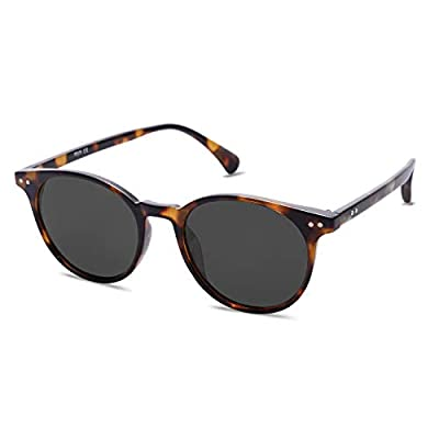SOJOS Small Round Classic Polarized Sunglasses for Women Men Vintage Style UV400 Lens MAY SJ2113 with Tortoise Frame/Grey Lens