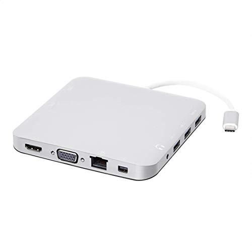 Amazon Basics - Docking station in alluminio di tipo C con Mini DisplayPort, HDMI, VGA, 3 USB-A, Ethernet, lettore di schede SD/TF, audio, porta di ricarica di tipo C (PD 100 W), quadrata, argentata