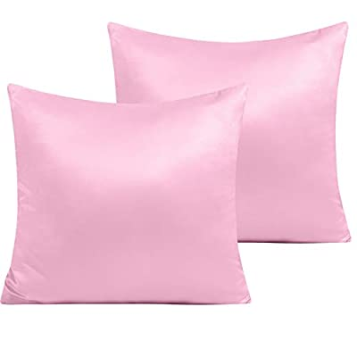 NTBAY Zippered Satin Square Throw Pillow Covers...