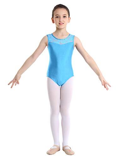 Freebily Maillot de Danza Niñas Leotardo Monos de Ballet Maillots Body de Danza Gimnasia Ejercicio Ropa Traje de Bailarina Bodysuit Gimnasia Rítmica Infantiles 2-14 Años Azul Claro 3-4años