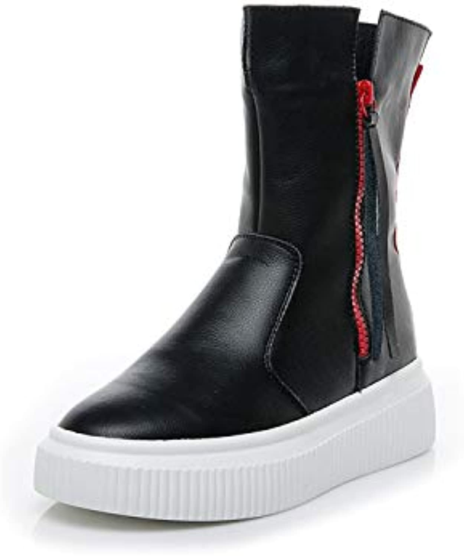 HOESCZS Frauen Schuhe Herbst Und Winter Frauen Stiefel Weibliche Weibliche Fransen Leder Frauen Stiefel Flach Mit Flachen Stiefel Damen Leder Stiefel  bestes Angebot