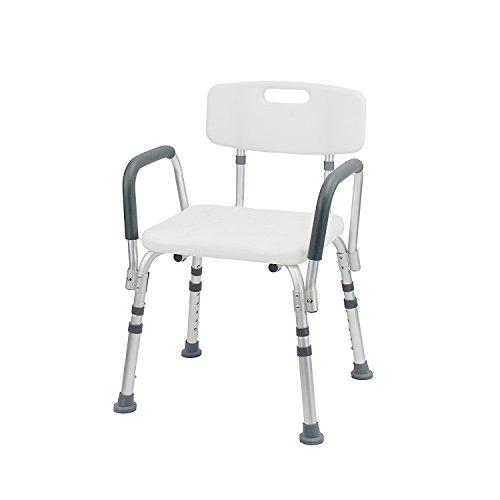 1PLUS Health Duschsitz Duschhocker mit Rückenlehne und Armlehne bis 110 kg belastbar