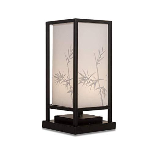 Lámpara de mesa lateral Pintado a mano Lámparas de mesa Lámparas de escritorio moderno minimalista Nuevo chino lámpara de mesa de bambú Sombra dormitorio Mesita de luz de la lámpara de estar Sala de E