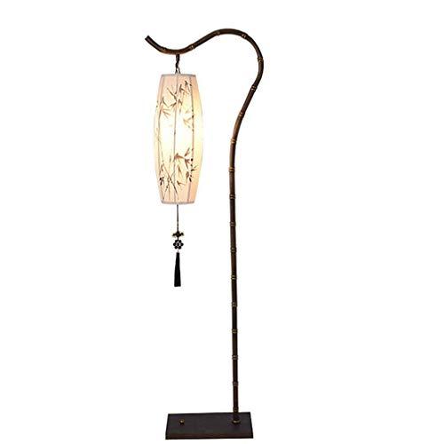 Plafondlamp Chinees, antiek koper zwart ijzer schaduw lantaarn van stof van bamboe, handgeschilderd met versiering op nappaleer LED-vloerlamp 1,65 M, voor woonkamer