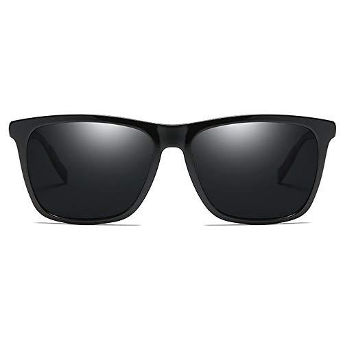 Hancoc Gafas de sol polarizadas metálicas de moda, para hombre y mujer, color negro, azul, verde, morado, amarillo, para conducir (color: negro)