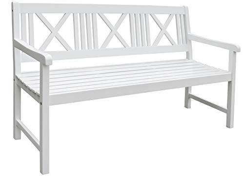 Landhausbank LÜBECK weiß lackiert, 3-Sitzer aus Eukalyptus 100% FSC, B 154 x H 89 x T 59 cm - 5