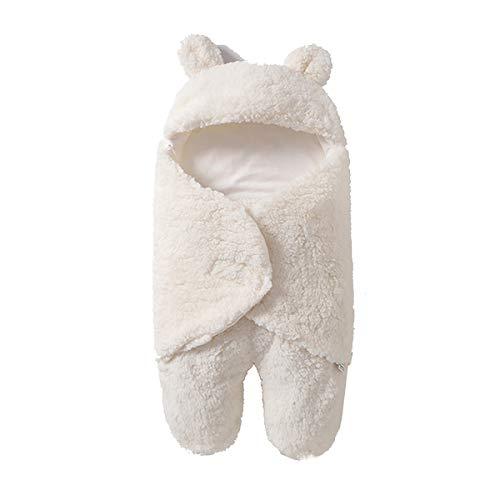NFSQYDT Manta Envolvente para Bebé Recién Nacido Saco de Dormir para Niñas Y Niños Manta Envolvente para Cochecito Saco de Dormir Adecuada 0 a 6 Meses Bebés Beige Split Legs-0 To 3 Months