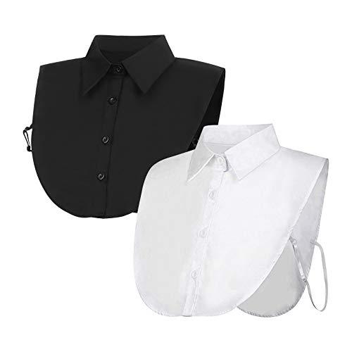 2 Stücke Frauen Kragen Krageneinsatz Damen, Fake Collar Detachable Collar Abnehmbare Hälfte Shirt Bluse Damen Blusenkragen Einsatz für Damen Gefälligkeiten (Weiß+Schwarz), Eine Größe Passt Am Meisten