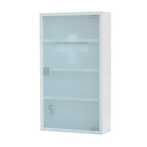HS-Lighting Medizinschrank Arzneischrank Edelstahl Erste Hilfe Schrank abschließbar, Glas Tür mit Tip-on Automatik (Weiß-4 Fächer)