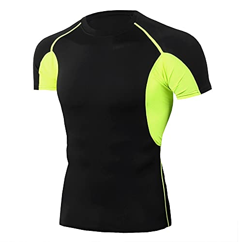 Correr Shirt Hombre Verano Cuello Redondo Slim Fit Hombre Muscular Shirt Empalme Estampado Manga Corta Deportiva Camisa Básica Funcional Shirt Causal Surf Gym Compresión Shirt D-Green 1 XXL