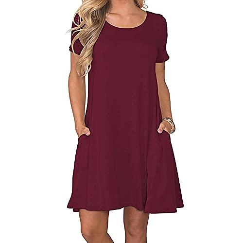 Coloody Vestido de Verano para Mujer, Largo hasta la Rodilla, de Manga Corta, Holgado, Camiseta, Cuello Redondo Color sólido Vestido con Bolsillos(Vino Tinto) XL