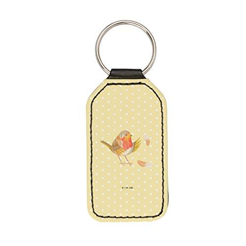 Mr. & Mrs. Panda Glücksbringer, Taschenanhänger, Rechteckig Schlüsselanhänger Rotkehlchen mit Federn - Farbe Gelb Pas