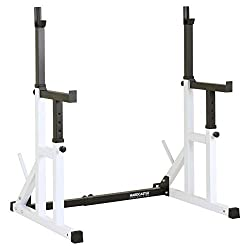 "Hardcastle Bodybuilding Squat Rack With Spotters - Please note this product is heavy and may arrive with some minor damage to the powder coating Adjustable width, rack height & spotter height for enhanced workout ranges Can be used with 1"" & 2"" Olymp..."