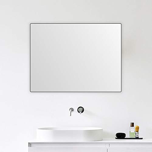4EVER BEAUTI Bathroom Mirror,Vanity Mirror for Wall with Thin Black Metal Frame -