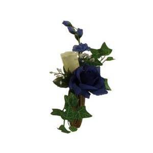 Niche Rose, Delphinium, Bell Flowers, Ivy and Baby's Breath for Niche and Grave-site Presentation in Remembrance of Loved Ones NO VASE