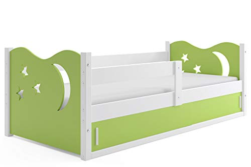 Interbeds Children's single bed NIKO_1 160 x 80 white + variations, colored tops, sliding doors, wooden slatted base, without mattress (Green)