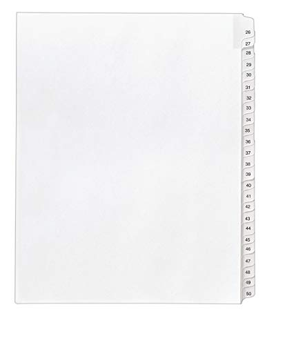 Avery Legal Dividers, Allstate Collated Sets, Letter Size, Side Tab, 26-50 Tab Set (01702), White