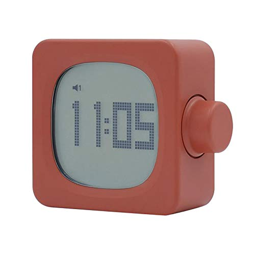 LOVIVER Escritorio LED Reloj Despertador Digital Cuadrado Mesa de Dormir Regulable luz de Noche Suave Despertar - Naranja