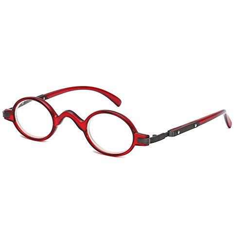 Leesbril met rond montuur voor heren en dames, vintage mini kleine ovale leesbril, 2 stuks