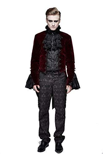 cappotto uomo fashion Devil Fashion Gotico Cappotto Uomo Inverno Medievale Lungo Uomini Manica Lunga Frac Pizzo Collare Giacca Uniforme Costume Festa Outwear Giubotto