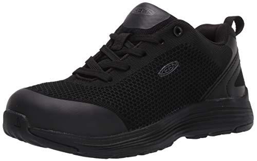 KEEN Utility Women's Sparta Low Alloy Toe Non Slip Work Shoe, Black/Black, 8.5 Wide US