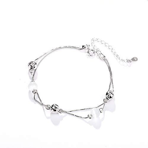 L.J.J S925 Sterling Silber Schmuck Perlen Doppelschicht Armband Einfache Charme Persönlichkeit Silberschmuck