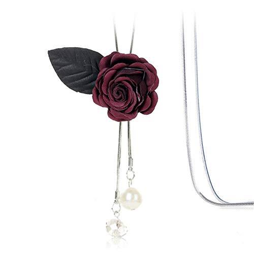 YAZILIND Tela Flor Forma Collar Largo Mujer Ajustable Cadena de suéter Colgante Collares Mujeres Accesorios de Ropa joyería(#5)