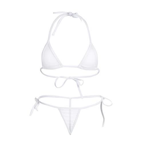 CHICTRY Transparenter Damen Bikini Sets aus Netz Triangel Bikinis Frauen Schwimmanzug Badeanzug Lingerie Babydoll BH und Micro String Weiß One Size