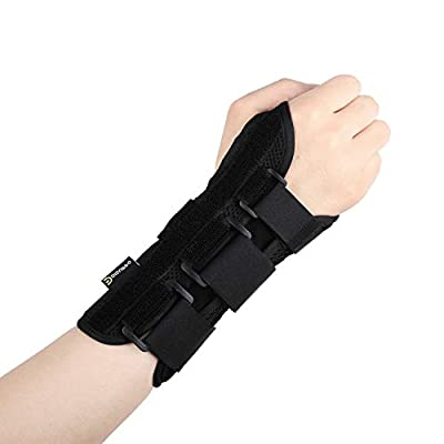 DISUPPO Wrist Brace Support Carpal Tunnel Night with Removable Splint for Hand Women Men, Arthritis, Tendonitis, Relief for Rsi, Cubital Tunnel, Wrist Sprains, Support Injuries Recovery (Black, Right)