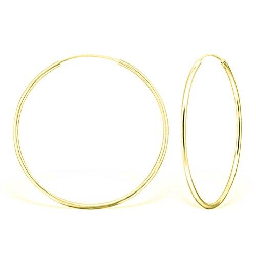 DTP Silver - Orecchini da donna a Cerchio - Argento 925 Placcato in Oro Giallo - Diametro 50 mm
