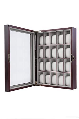 Uhrenbox Holz Für Wand 20 Uhren Sichtfenster Echtglas Uhrenvitrine Holzuhrenschatulle