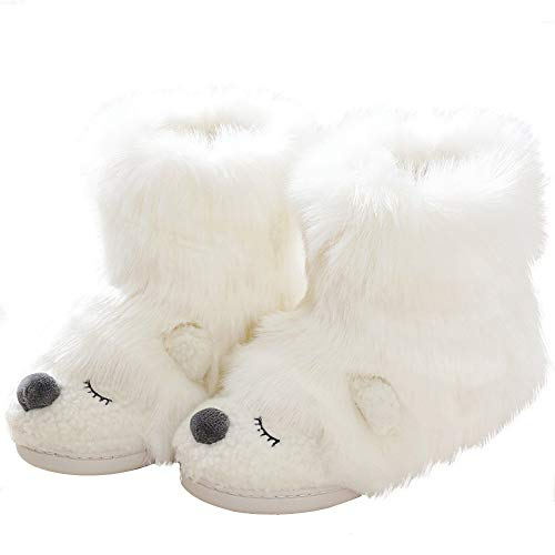 Cute Animal Fluffy Booties Slippers for Women Warm Soft Boots Monster Cosplay White