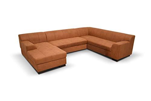 DOMO Collection Falk Wohnlandschaft | Sofa mit Schlaffunktion und Bettkasten in U-Form | Schlafsofa mit Federkern und Stauraum | 159 x 317 x 229 cm | Couch in orange-rot