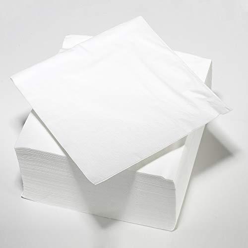 Le Nappage - Serviettes de Table 2 plis en Ouate - Couleur Blanc - Serviettes Papier Certifiées FSC® et Biodégradables - Format 33 x 33 cm - Lot de 100 Serviettes Blanches