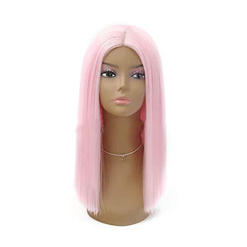 no brand TEYUN Lace Front Perruque, Rose Clair Bob de Femmes, Moyen Boucle, Perruque de Cheveux Longs (Color : Light Pink, Size : 22 inch)