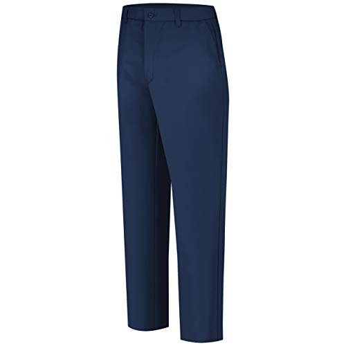 Bulwark Flame Resistant 9 oz Twill Cotton Excel FR Mens ComforTouch Work Pant with Button Closure, Navy, 40 Waist and 32 Inseam