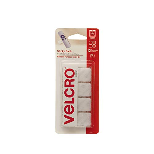 VELCRO Brand Mounting Squares | Pack of 12 | 7/8 Inch White | Adhesive Sticky Back Hook and Loop Fasteners for Home, Office or Crafting | Strong Secure Hold (90073)