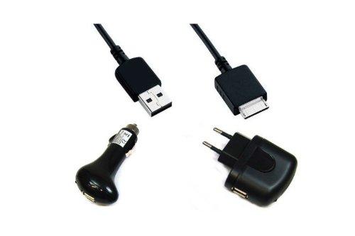 Kit USB Datenkabel / Ladekabel + KFZ-Ladegerät + Netzteil für Sony MP3/MP4 Walkman NWZ-610F A726 A728 A729 A815 A816 A818 A826 A828 A829 A839 A844 A845 A846 A847 A864 A865 A866 A867 A916 A918 A919 E343 E353 E435F E436F E438F E443 E443K E444 E444K E445 E453 E454 E455 E463 E463HK E463K E464 S515 S516 S544 S545 S615F S616F S618F S636F S638F S639F S710F S718F S736F S738F S739F S740 S744 S745 S750 S754 S755 S764 S764BT S764BK S765 S765BT S765BK X1050 X1060