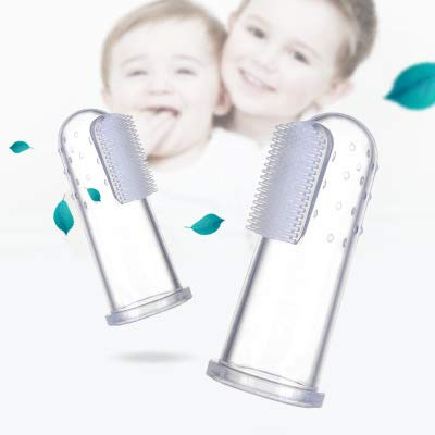 Chic Buddy Silicone Finger Baby Toothbrush,Toddler Training Tooth Brushes with Hygiene case (Transparent)