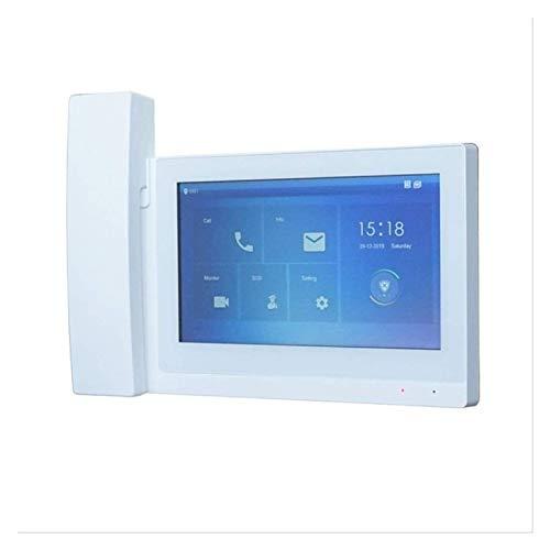 YQQQQ Monitor Interior del Tacto del Timbre Video Elegante de 7 Pulgadas, Monitor del Timbre del IP, Monitor del Intercomunicador Video (Color : White)