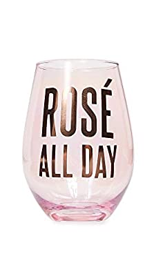 Creative Brands Slant Collections - Jumbo Stemless Wine Glass, 30-Ounce, Rose' All Day